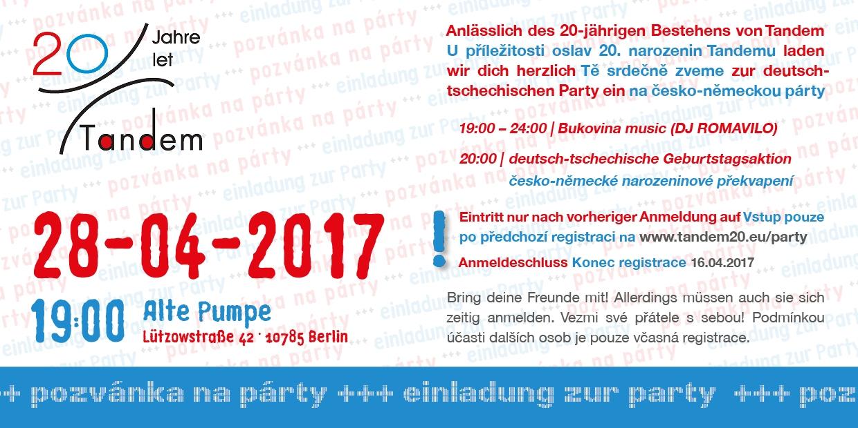 pozvánka na narozeniny německy Tandem slaví 20. narozeniny a zve na párty! | TANDEM   Koordinační  pozvánka na narozeniny německy